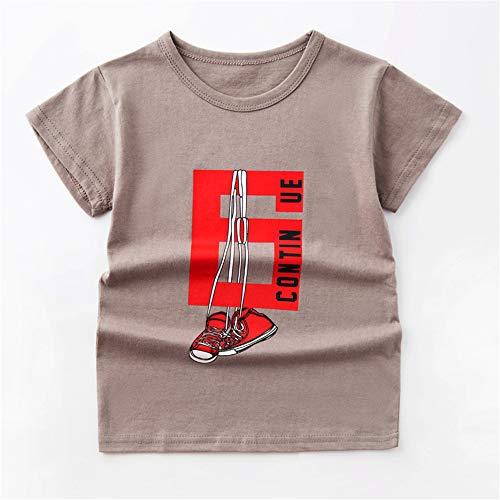 Hochwertiges Kinder T-Shirt aus 100{fafa2287365d7e6af02fabd73fc1d5209b6cbe68fd38f7d38b5742b7e4e7fae8} Bio-Baumwolle für Mädchen und Jungen Kurzärmeliges Baumwoll-T-Shirt Cartoon Kinderkleidung Hellbraun 150