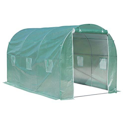 Outsunny Serre de Jardin Tunnel Surface Sol 8 m² 4L x 2l x 2,10H m châssis Tubulaire renforcé Porte zippée 6 fenêtres enroulables Vert
