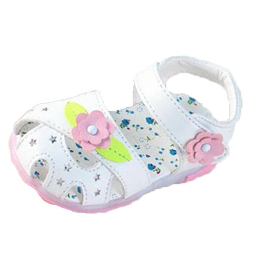 Ohmais Enfants Chaussure bebe fille premier pas Chaussure premier pas bébé sandale en cuir souple Blanc