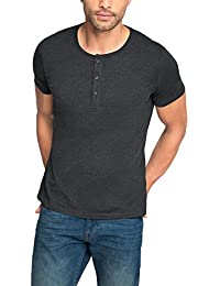 ESPRIT Herren T-Shirt Melange Henley - Regular Fit