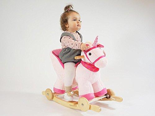 Dunjo® Baby Schaukelpferd Schaukeltier Rosa Einhorn | Ab 1 - 3 Jahre | mit Rollen, Sound-Modul, Babysitz - 5