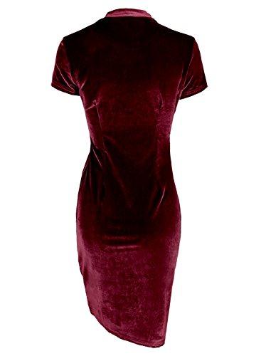 Futurino Women's Velvet Short Sleeve Mock Neck Bodycon Cocktail Midi Dress Wine Red