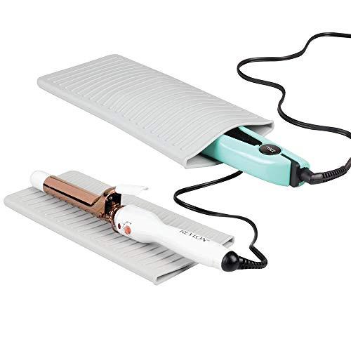 Mdesign tappetino in silicone per piastra e arricciacapelli 2in1 - pratica custodia e supporto protettivo per piastra - tappetino protettivo da bagno e custodia per piastra - grigio