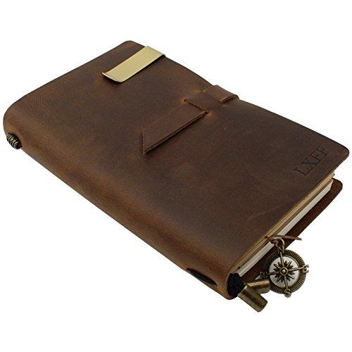 lxff handgefertigt Leder Notizbuch Tagebuch nachfüllbar Notebooks (180Seiten)-17,8x 11,2cm-perfekte Geschenk für Männer und Frauen-Vintage und geprägtes Leder Vintage Brown