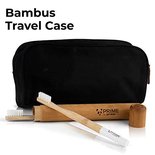 PRIME ART WOOD® 5er Pack Bambus Zahnbürsten mit Reiseetui aus nachhaltigem Bambus Holz | BPA-freie Zahnbürste (Vegan, umweltfreundlich, plastikfrei verpackt) Mittel weiche Borsten für beste Sauberkeit