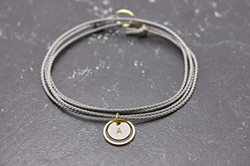 Armband Gravur Circle personalisiert grau…