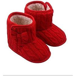 12CM Calzature per Bambini Neonati da 6 a 9 Mesi Stivali Caldi Antiscivolo Principessa Cravatta a Farfalla Scarpine Invernali Prewalkers Rosso