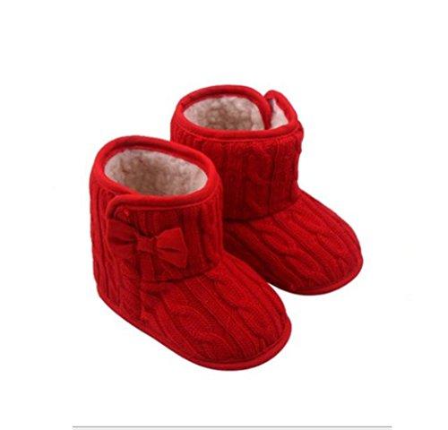 Sapatos Cinza Para 3-6 Meses Bebê Botas De Sola Bowknot Suaves E Quentes Botas De Inverno Vermelhas