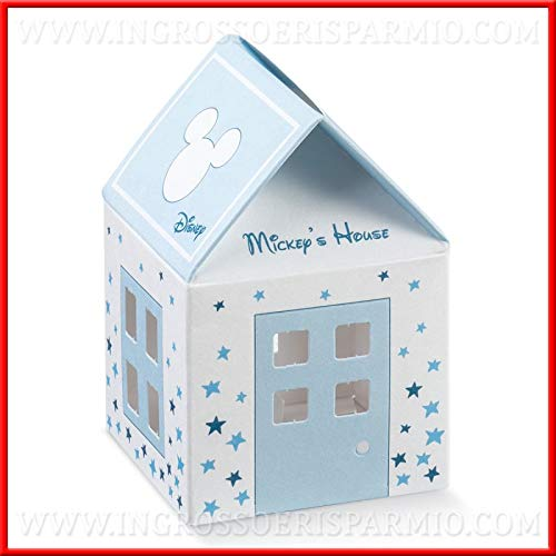 Ingrosso e risparmio 12 casette di topolino in cartoncino bianco e celeste con stelline azzurre portaconfetti, firmate disney, bomboniere nascita compleanno maschio (senza confezionamento)