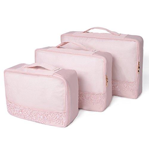 Beschan 3 Pcs Spitze Mesh Reiseveranstalter Verpackungswürfel Gepäck Organizer in Koffer Koffertaschen Reisegepäck (Rosa)