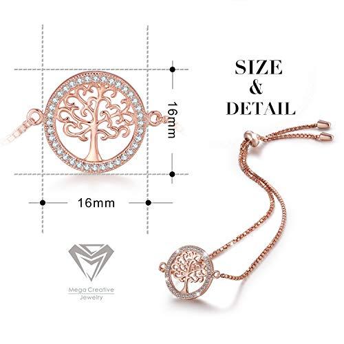 Imagen de mega creative jewelry pulseras árbol de la vida oro rosa para mujer plata 925 con cristales alternativa