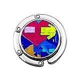Kreatives Vintage-Wandschild aus Glas mit Herz-Motiv, romantische Farbe, Grunge Fashion rau, Blau, bunt, Graffiti, modern, faltbar, Geldbörse, Haken für Handtaschen, Aufbewahrung, faltbar