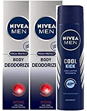 Nivea Men Body Deodoriser Intense, 120ml (Pack of 2) and Men Cool Kick Deodorant, 150ml