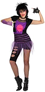 Atosa- Disfraz mujer punky, Color violeta, XL (15530)