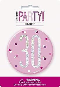 Unique Party 83532 - Insignia de cumpleaños, color rosa y plateado