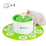 isYoung Fuente de Agua Gatos y Perros Dispensador de Agua Automático para Mascotas Bebedero Automático 1.6 L de Gato Perro Sano e Higiénico con 2 Filtros de Carbón