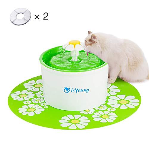 isYoung Fuente de Agua Gatos y Perros, Dispensador de Agua Automático para Mascotas, Bebedero Automático 1.6 L de Gato, Perro, Sano e Higiénico, 2 Filtros de Carbón Gratis