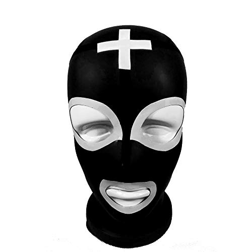 Latex Cool Sexy Latex Rubber Unisex Masks With Lining Anti-Clip Hair Mask Black With White Unique Party Costume,S 57CM