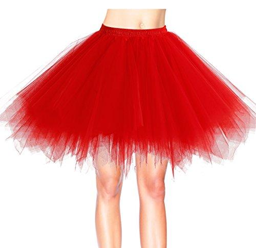 age Petticoat Winter Falten Rock Tüllrock Kurz Ballett Tanzkleid Abendkleid Gelegenheit Zubehör Red L (Tutu Frauen)