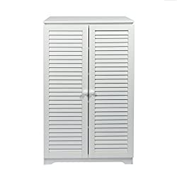 woodluv Free Standing Tall Hallway Bedroom Bathroom Shoe Rack Cabinet Louvered doors Cabinet, (L) 60 x (W) 32 x 100(H) Cms - White, Wood