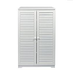woodluv Free Standing Tall Hallway Bedroom Bathroom Shoe Rack Louvered Doors Cabinet, (L) 60 x (W) 32 x 100(H) cms-White, Wood, 60x32x100 cm