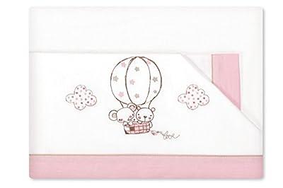 Sabanas 100% Algodón CUNA 60X120 - Globo Rosa (bajera+encimera+funda almohada)
