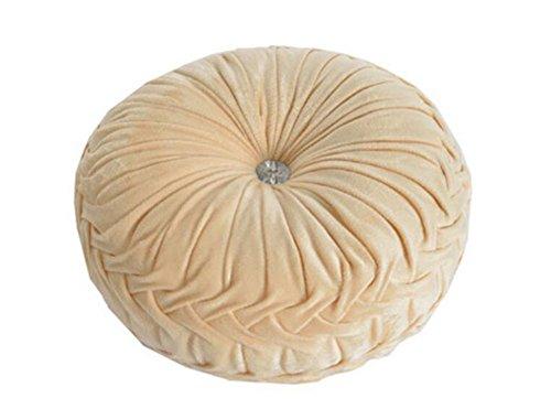 Monbedos dicke Sitzpolster aus Samt, rund, für Esszimmer, Wohnzimmer, Terrasse, Garten, Büro, Café, Shop beige