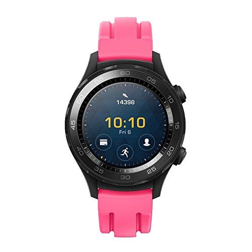 HappyTop Sportarmbanduhrband 21mm, Silikonarmband, Ersatz für Huawei Watch 2, Herren, HP-WR-AP, hot pink Pink-coach Armband