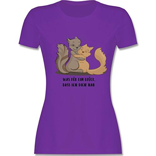 Sonstige Tiere - Beste Freunde - tailliertes Premium T-Shirt mit Rundhalsausschnitt für Damen Lila
