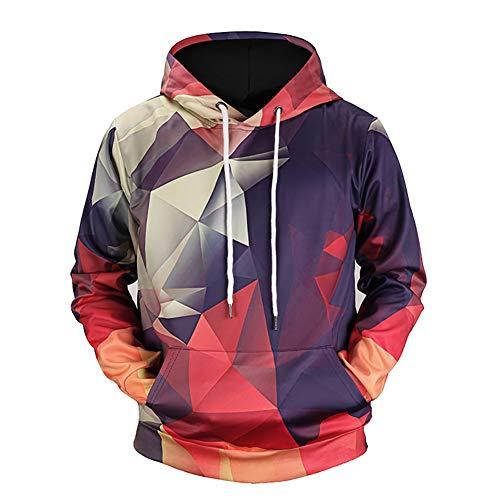MNLXL Geometrische Druck Hooded 3D Der Strickjacke Der Farben des Herbstes Und des Winters Digitale Ursprüngliche Paare Gezeitenkarte,Color,XXL (Paare Crewneck-sweatshirts Für)