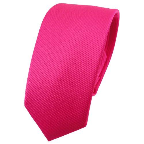TigerTie schmale Designer Krawatte in pink knallpink leuchtpink einfarbig Uni Rips gemustert