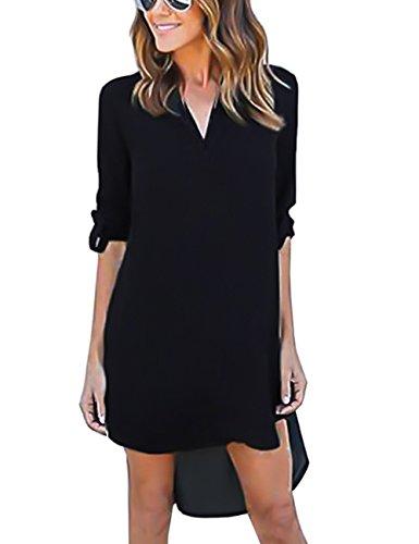 isassy-chemisier-femme-manches-3-4-robe-chemise-tunique-blouse-fluide-chic-xl-fr42-noir