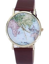 Ros¨¦gold Mode Leder Uhren Quarz Dame Uhr Lichtfarbe Welt mapgirls -(Kaffee)