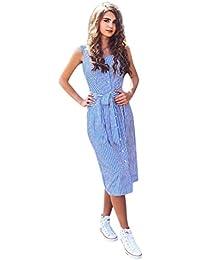 Abito a Righe Blu da Donna Abito Monopetto Estivo con Cintura Vestiti da  Sera Vestiti da Donna Vestiti Eleganti Gonna… 7f4c7e45854