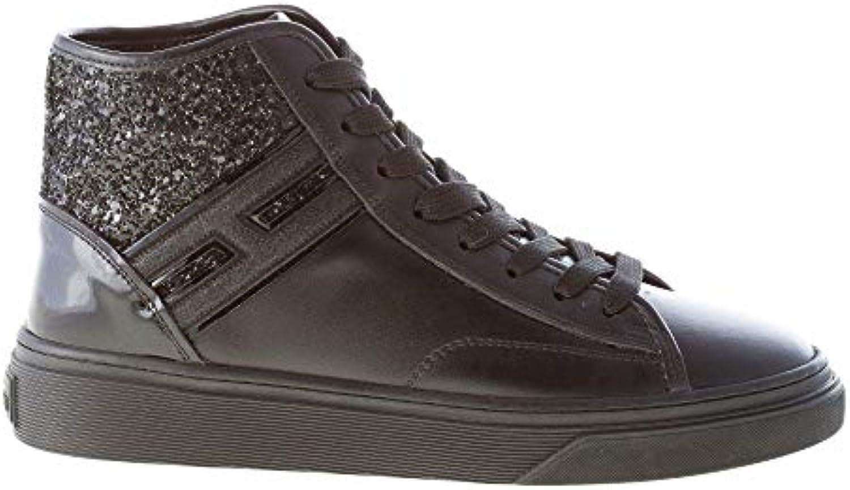 Hogan Donna H342 H342 H342 High Top scarpe da ginnastica in Pelle Nero con Dettagli Glitter e Vernice   Primo gruppo di clienti  d943c2