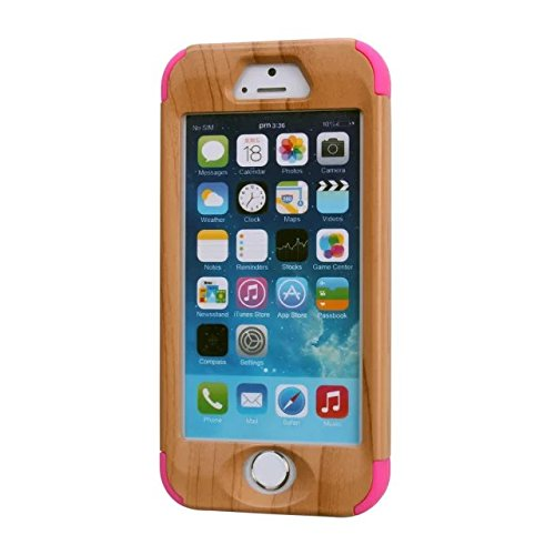 iPhone 5S Fall, iPhone 5 Fall, Lantier 3 in 1 PC + Silikon-Hybrid High Impact Defender Case Combo Fest Taschen Cover Kratzstaubdichte Shockproof für Apple-iPhone 5S 5 Holz Design Pink Wood Design Sky-Blue