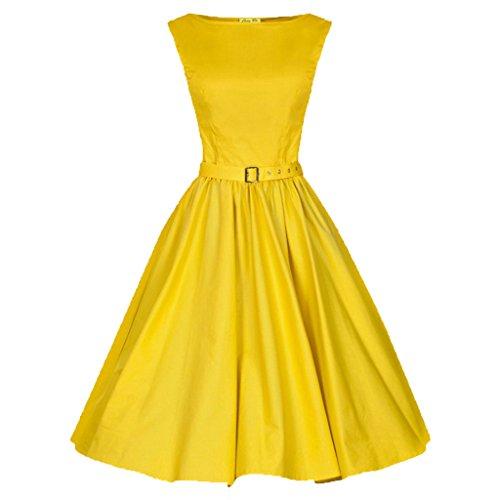 marloca Classy 50s Audrey Hepburn Swing style Rockabilly Soirée Jaune - Jaune