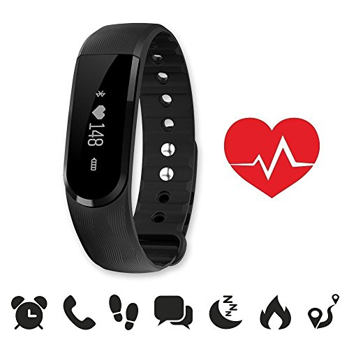ID101HR: endubro ID101 HR fitness bracelet - fitness tracker - smart bracelet - SmartWatch for Android Smartphone and iPhone, pedometer, heartrate - monitoring, push message and caller - ID Alert