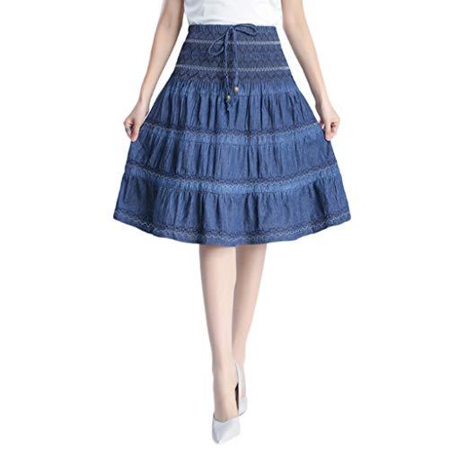 QJKai Jeansrock mit hoher Taille für Damen Plus Size plissiert elastische Taille Midi-Rock dünne Freizeit A-Line Rock für den Sommer -