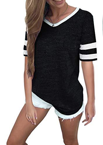 Ehpow Damen Kurzarm T-Shirt V-Ausschnitt Casual Sommer Lose Shirt Oversize Oberteile (Large, Schwarz-1)