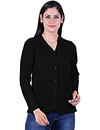 eWools Women Ladies Girls Winter Wear Woolen Button Top Cardigans Sweaters (Self Cardigans)
