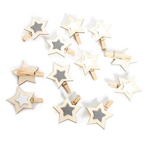 12 Stück kleine grau weiß natur Holzsterne Sterne Holz Holzklammer Deko-Klammer Zier-Klammer Weihnachten Weihnachts-Deko 6 cm Wäscheklammern Clips weihnachtliche Verpackung Geschenkanhänger