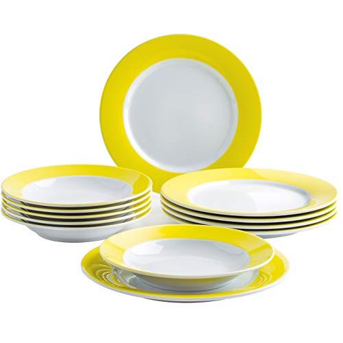 Kahla 57a141a70412c pronto - servizio da tavola per 6 persone, 12 pezzi, 6 piatti fondi, 6 piatti fondi, colore: giallo limone