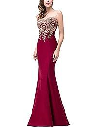 Mujer Vestido Noche Fiesta Largo Elegante Vestido Maxi Cola De Pescado Vino Rojo XL