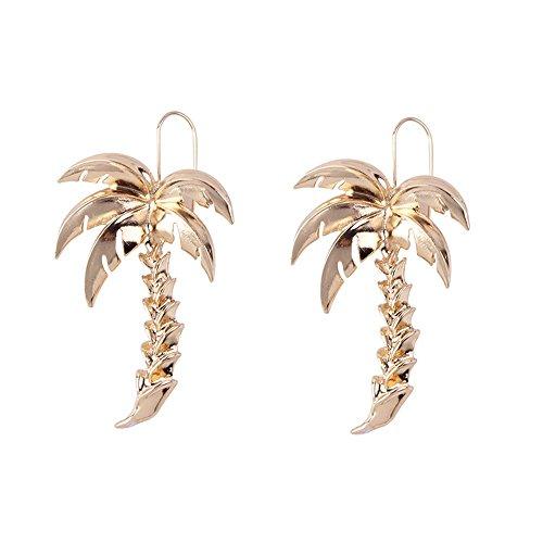 WANGLETA Ohrstecker Ohrhänger Geschenkidee für Frauen Europäische und amerikanische Schmuck kreative Übertreibung personalisierte Urlaub ohr Geometrie metall Palm Tree Ohrringe Gold