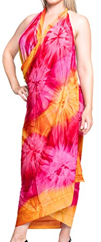 La Leela Bathing Suit Swimsuit Soft Rayon Hand Tie Dye Strip Beach Bikini Cover up Sarong Ladies 78X43 Inch