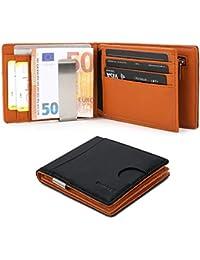 Herren Geldbeutel Geldbörse mit Geldklammer & Münzfach | RFID Blocker Kreditkartenhalter Karten Portemonnaie | Dünne Brieftasche Portmonee für Männer/Jugendlicher