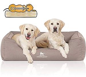 Knuffelwuff Orthopädisches, kuscheliges Hundebett aus extrem robustem und wasserabweisenden Velours LeonDas HundebettLeon besitzt einen Memory Foam Kern, was ein gelenk- und wirbelsäulenschonendes Schlafen ermöglicht. Das orthopädische Hundebett ist...