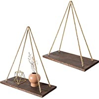Mkouo Wall Hanging Shelves Plant Hanger Wood Floating Shelves Swing with Jute Rope Rustic Plank Display Home Decor, Set of 2