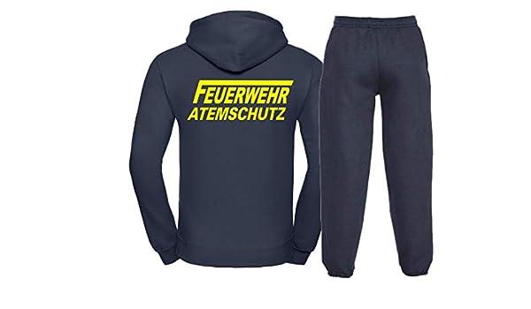 Kapuzen-Jogginganzug Navy Feuerwehr ATEMSCHUTZ Neongelb
